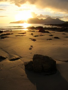 The Isle of Rum, as seen from the Singing Sands beach on Eigg